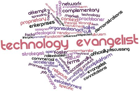 coined: Abstract word cloud for Technology evangelist with related tags and terms