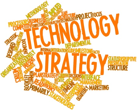 utilized: Abstract word cloud for Technology strategy with related tags and terms