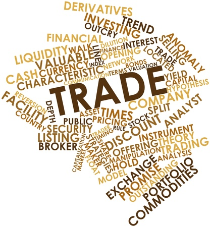 timing: Abstract word cloud for Trade with related tags and terms Stock Photo