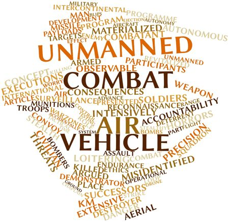 Abstract word cloud for Unmanned combat air vehicle with related tags and terms Stock Photo - 16500645