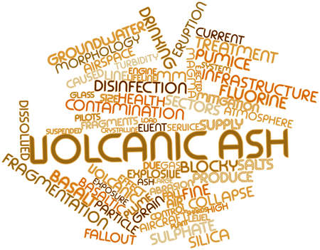 dissolved: Abstract word cloud for Volcanic ash with related tags and terms