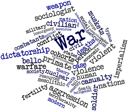 mesolithic: Abstract word cloud for War with related tags and terms