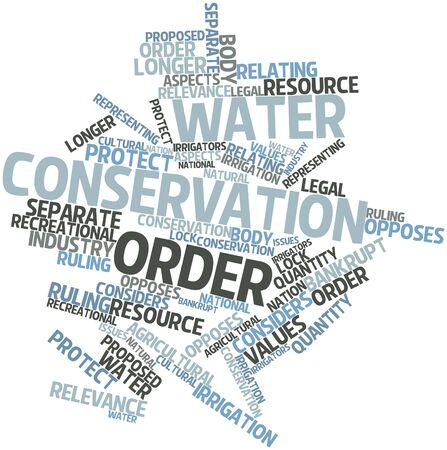waterbesparing: Abstract woordwolk voor Waterbesparing orde met gerelateerde tags en voorwaarden