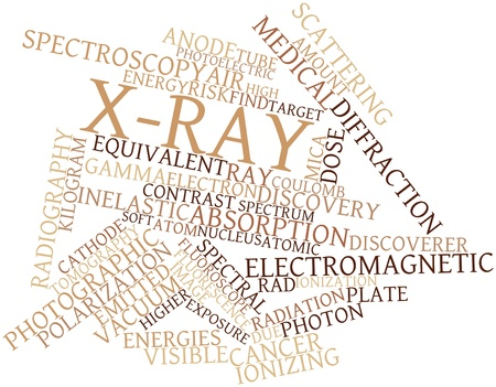 fluorescence: Abstract word cloud for X-ray with related tags and terms Stock Photo