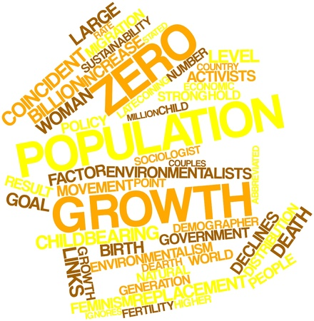 population growth: Abstract word cloud for Zero population growth with related tags and terms