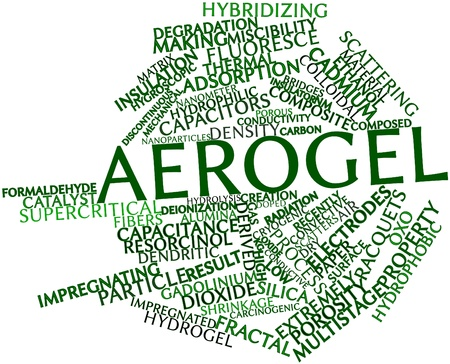 nm: Abstract word cloud for Aerogel with related tags and terms Stock Photo