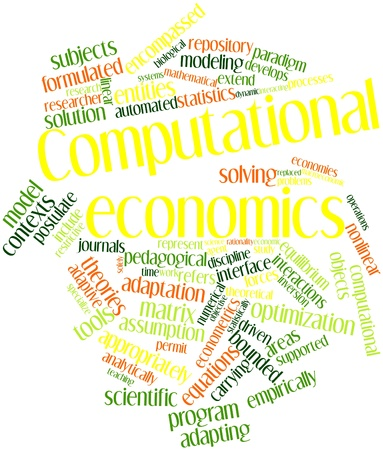 pedagogical: Abstract word cloud for Computational economics with related tags and terms Stock Photo