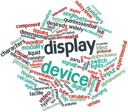 forthcoming: Abstract word cloud for Display device with related tags and terms Stock Photo