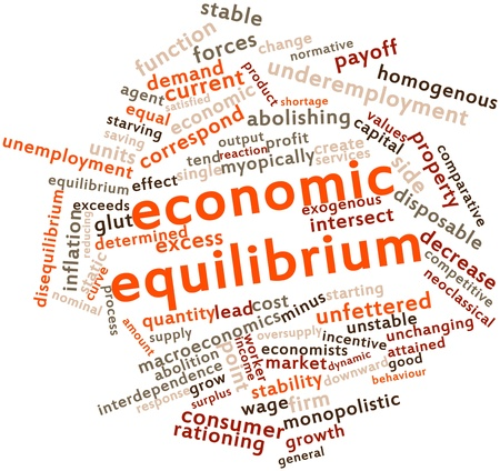 interdependence: Abstract word cloud for Economic equilibrium with related tags and terms Stock Photo