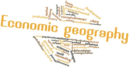 critique: Abstract word cloud for Economic geography with related tags and terms Stock Photo