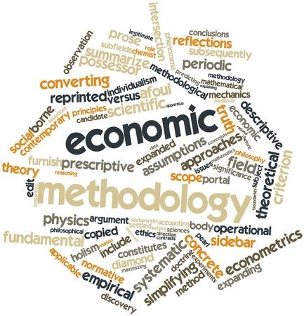 criterio: Word cloud astratto per la metodologia economica con tag correlati e termini Archivio Fotografico