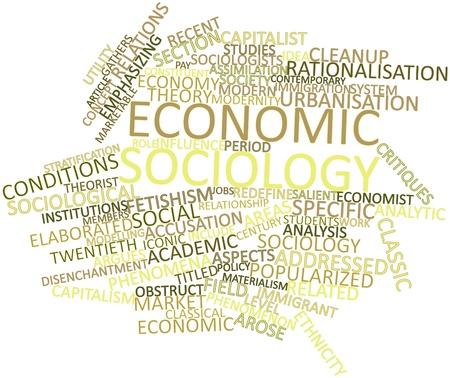 sociologia: Abstract Nube de la palabra para la sociolog�a econ�mica con etiquetas y t�rminos relacionados