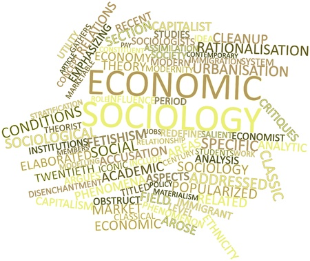 synonymous: Abstract word cloud for Economic sociology with related tags and terms Stock Photo