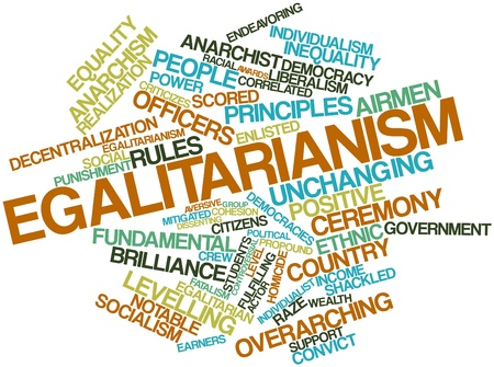 correlated: Abstract word cloud for Egalitarianism with related tags and terms Stock Photo