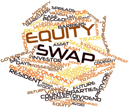 commissions: Abstract word cloud for Equity swap with related tags and terms Stock Photo