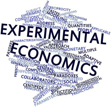 the experimental: Abstract word cloud for Experimental economics with related tags and terms Stock Photo