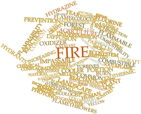 combust: Abstract word cloud for Fire with related tags and terms Stock Photo