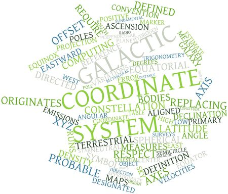 coordinate: Abstract word cloud for Galactic coordinate system with related tags and terms