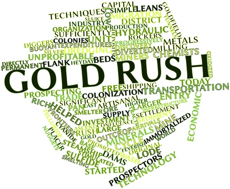 Abstract word cloud for Gold rush with related tags and terms Stock Photo - 16502443