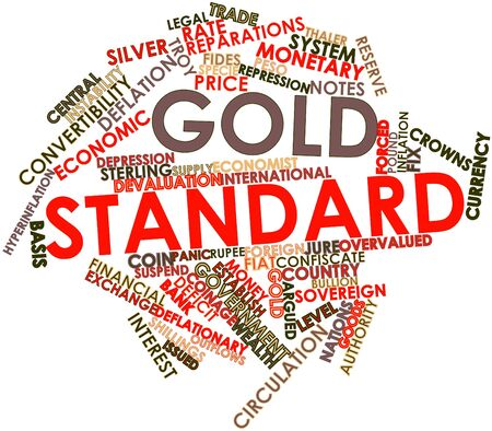 economist: Abstract word cloud for Gold standard with related tags and terms Stock Photo