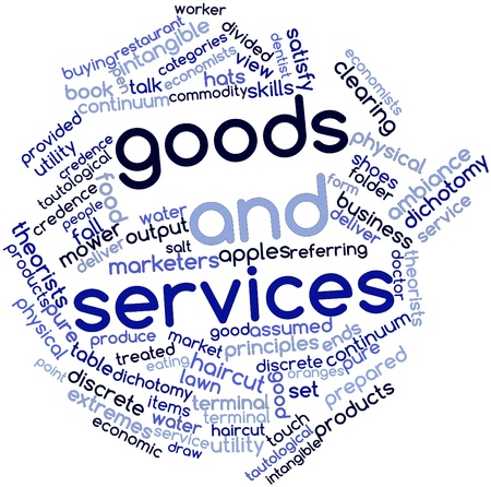 Abstract word cloud for Goods and services with related tags and terms