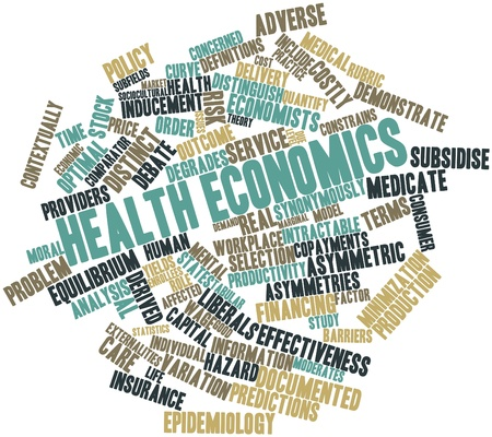 intractable: Abstract word cloud for Health economics with related tags and terms Stock Photo