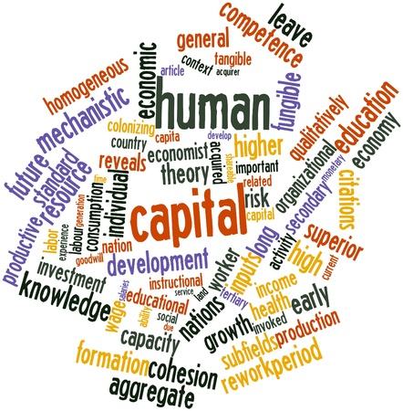 capital humano: Nube palabra abstracta para el capital humano con las etiquetas y t�rminos relacionados