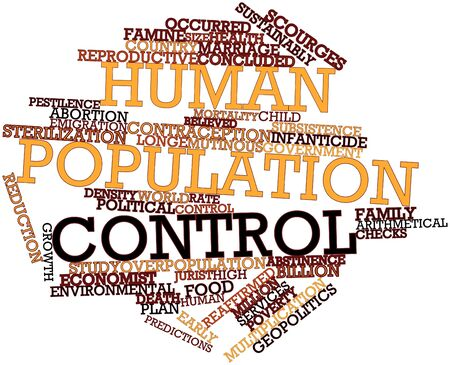sterilization: Abstract word cloud for Human population control with related tags and terms Stock Photo