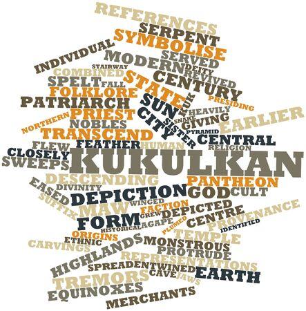 kukulkan: Nube palabra abstracta para Kukulkan con etiquetas y t�rminos relacionados Foto de archivo