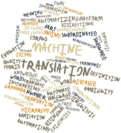 typology: Nube palabra abstracta para la traducci�n autom�tica con las etiquetas y t�rminos relacionados Foto de archivo