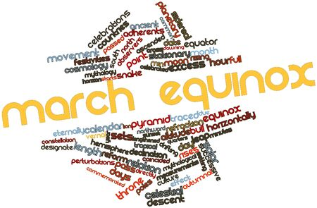 observers: Abstract word cloud for March equinox with related tags and terms