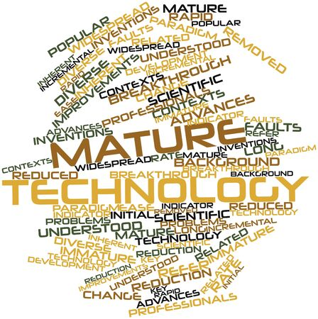 immature: Abstract word cloud for Mature technology with related tags and terms