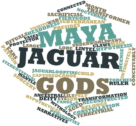 narratives: Abstract word cloud for Maya jaguar gods with related tags and terms