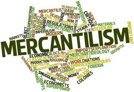 outflow: Abstract word cloud for Mercantilism with related tags and terms Stock Photo