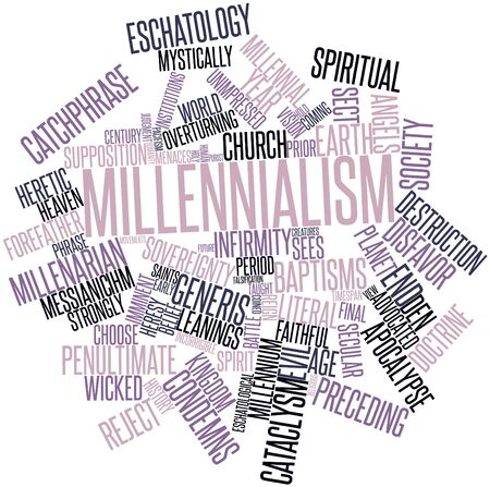 coined: Abstract word cloud for Millennialism with related tags and terms