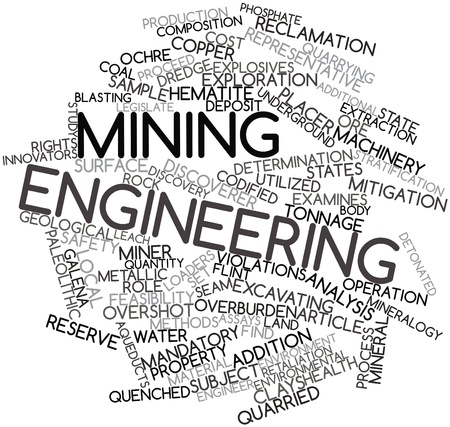 quenched: Abstract word cloud for Mining engineering with related tags and terms Stock Photo