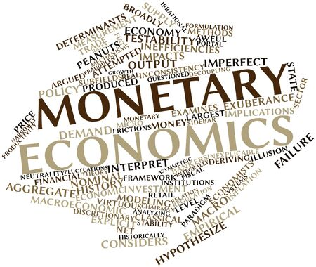 economic theory: Abstract word cloud for Monetary economics with related tags and terms Stock Photo