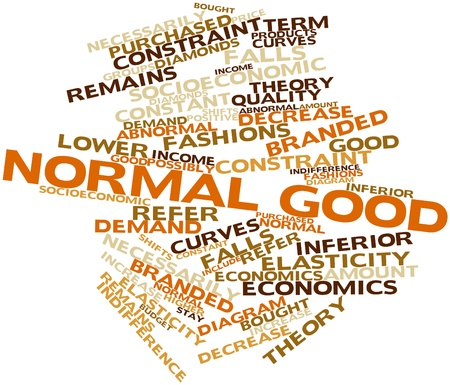 purchased: Abstract word cloud for Normal good with related tags and terms Stock Photo
