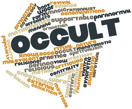 arcane: Abstract word cloud for Occult with related tags and terms Stock Photo