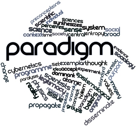 reactivity: Abstract word cloud for Paradigm with related tags and terms Stock Photo