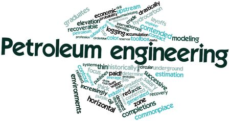 arctic zone: Abstract word cloud for Petroleum engineering with related tags and terms Stock Photo