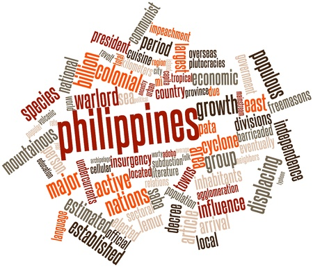 Abstract word cloud for Philippines with related tags and terms Stock Photo