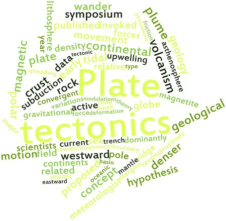 gravitational field: Abstract word cloud for Plate tectonics with related tags and terms Stock Photo