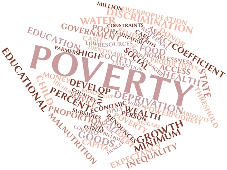 peasant woman: Abstract word cloud for Poverty with related tags and terms Stock Photo