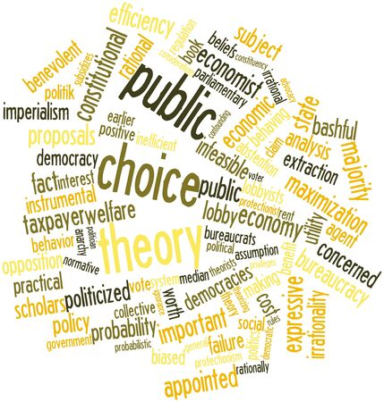 lobbyists: Abstract word cloud for Public choice theory with related tags and terms Stock Photo