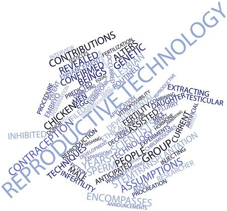 in vitro: Nube de palabras abstracto de la tecnología reproductiva con las etiquetas y términos relacionados