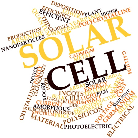 photoelectric: Abstract word cloud for Solar cell with related tags and terms