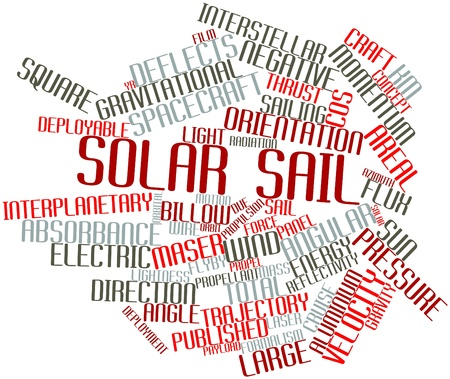 orbital: Abstract word cloud for Solar sail with related tags and terms Stock Photo