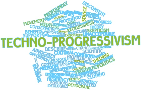 critique: Abstract word cloud for Techno-progressivism with related tags and terms Stock Photo