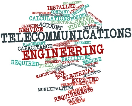 Abstract word cloud for Telecommunications engineering with related tags and terms